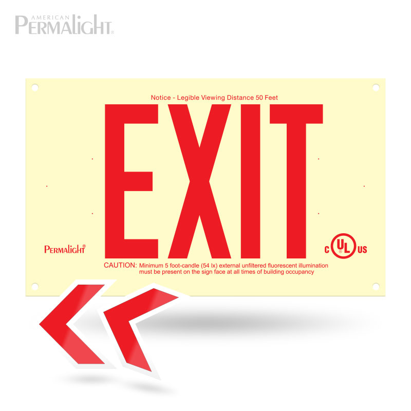 Rigid PVC Plastic EXIT Sign, unframed, red letters (6 in)