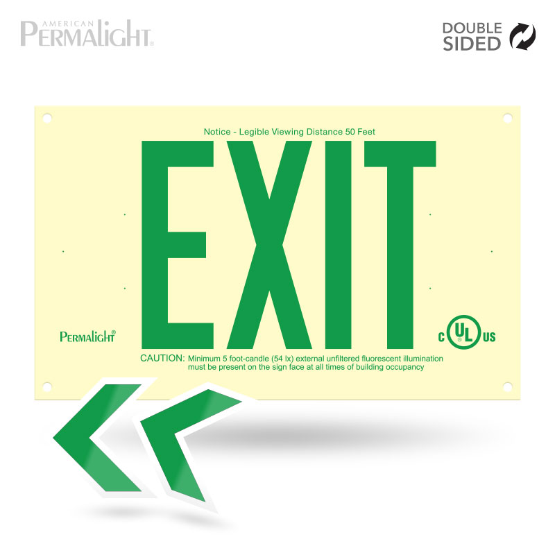 Rigid PVC Plastic EXIT Sign, unframed, green letters (6 in) – Double sided