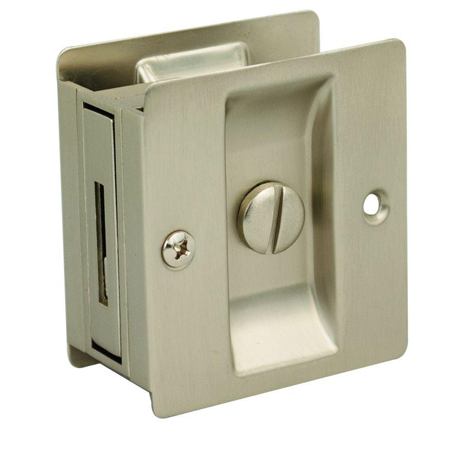 SLIDING DOOR LOCK, SQUARE Satin Nickel