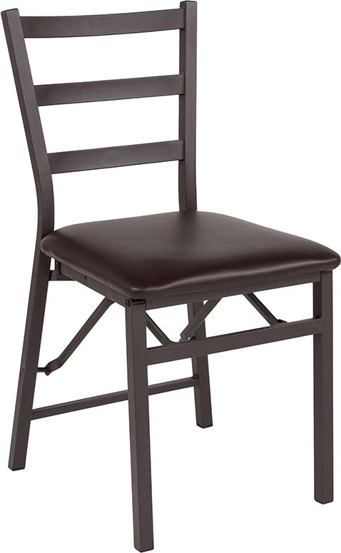 Metal Chair with Brown Vinyl Seat