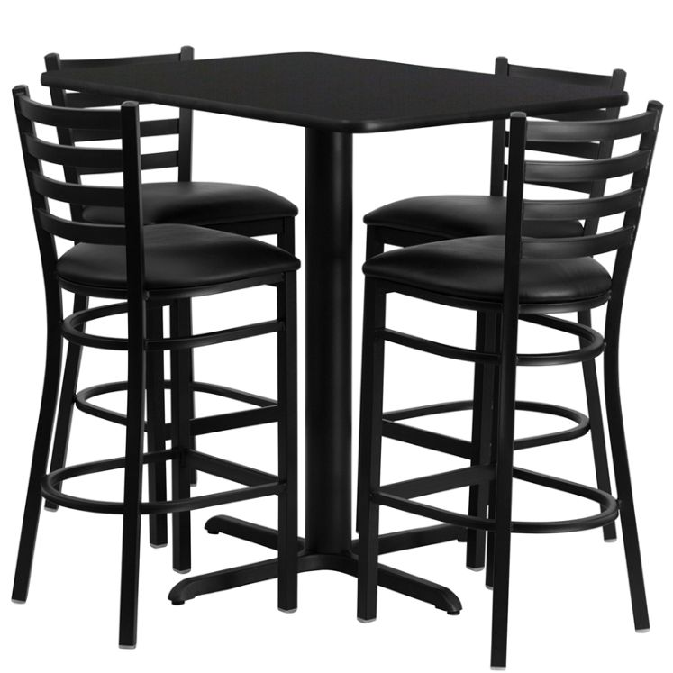 Rectangular Black Laminate Table Set with 4 Ladder Back Metal Barstools - Black Vinyl Seat
