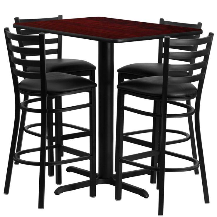 Rectangular Mahogany Laminate Table Set with 4 Ladder Back Metal Barstools - Black Vinyl Seat