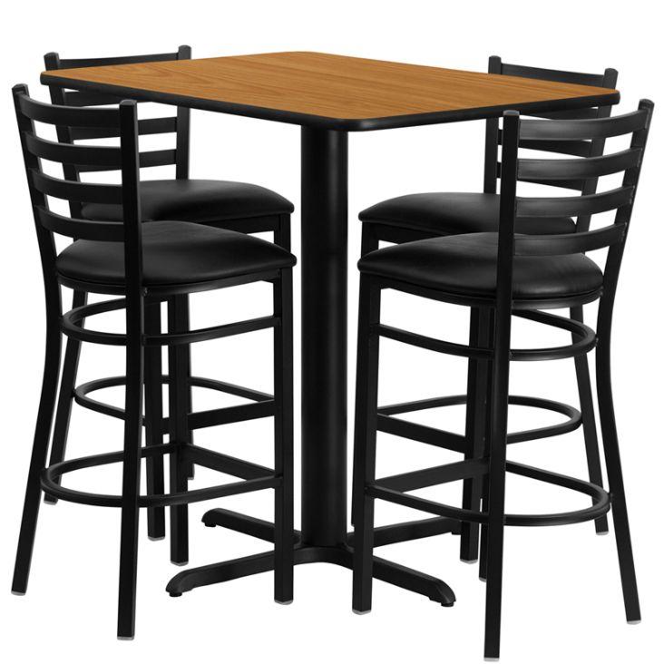 Rectangular Natural Laminate Table Set with 4 Ladder Back Metal Barstools - Black Vinyl Seat