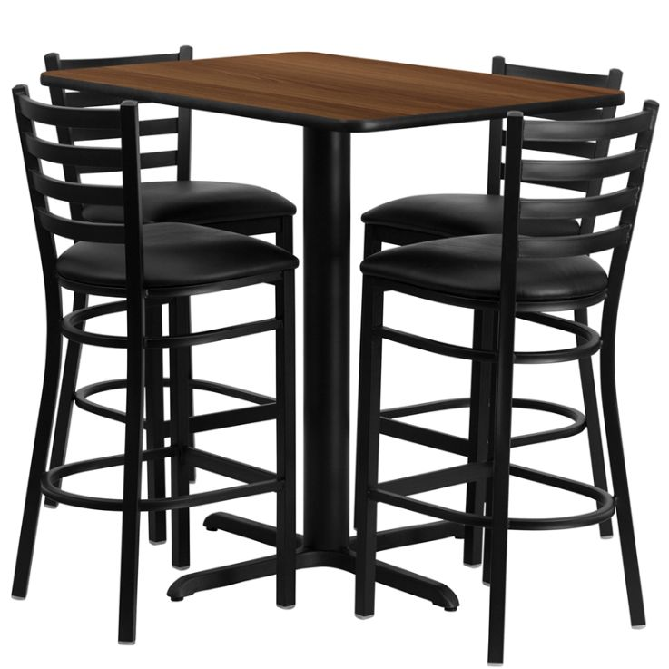 Rectangular Walnut Laminate Table Set with 4 Ladder Back Metal Barstools - Black Vinyl Seat