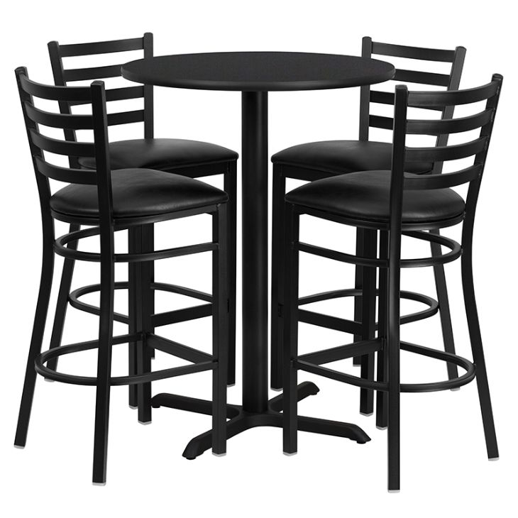Round Black Laminate Table Set with X-Base and 4 Ladder Back Metal Barstools - Black Vinyl Seat
