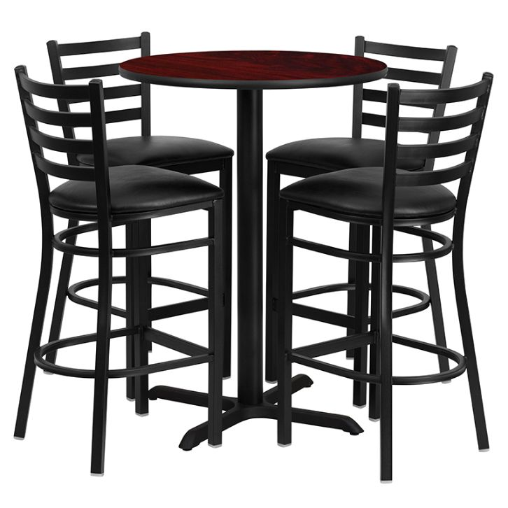 Round Mahogany Laminate Table Set with X-Base and 4 Ladder Back Metal Barstools - Black Vinyl Seat