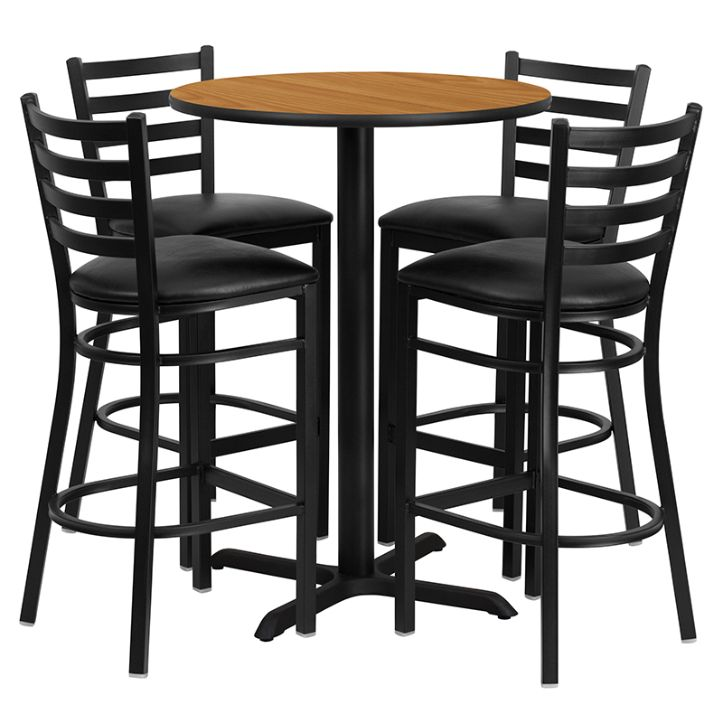 Round Natural Laminate Table Set with X-Base and 4 Ladder Back Metal Barstools - Black Vinyl Seat