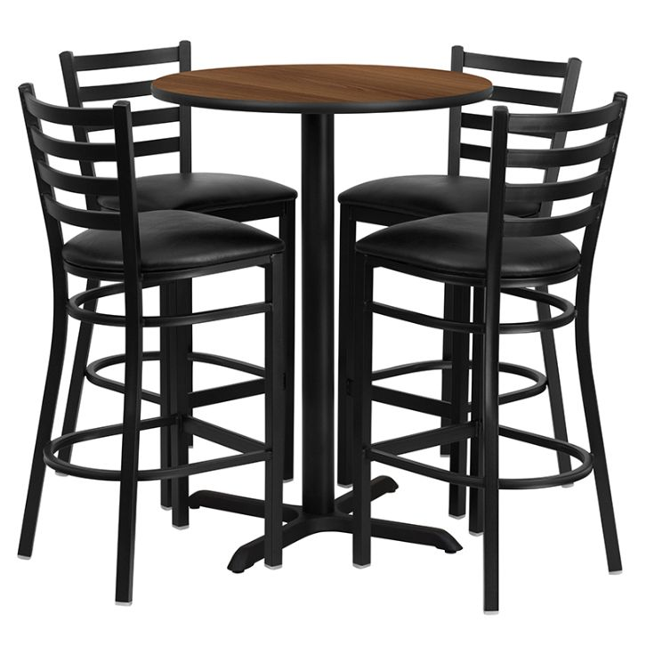 Round Walnut Laminate Table Set with X-Base and 4 Ladder Back Metal Barstools - Black Vinyl Seat