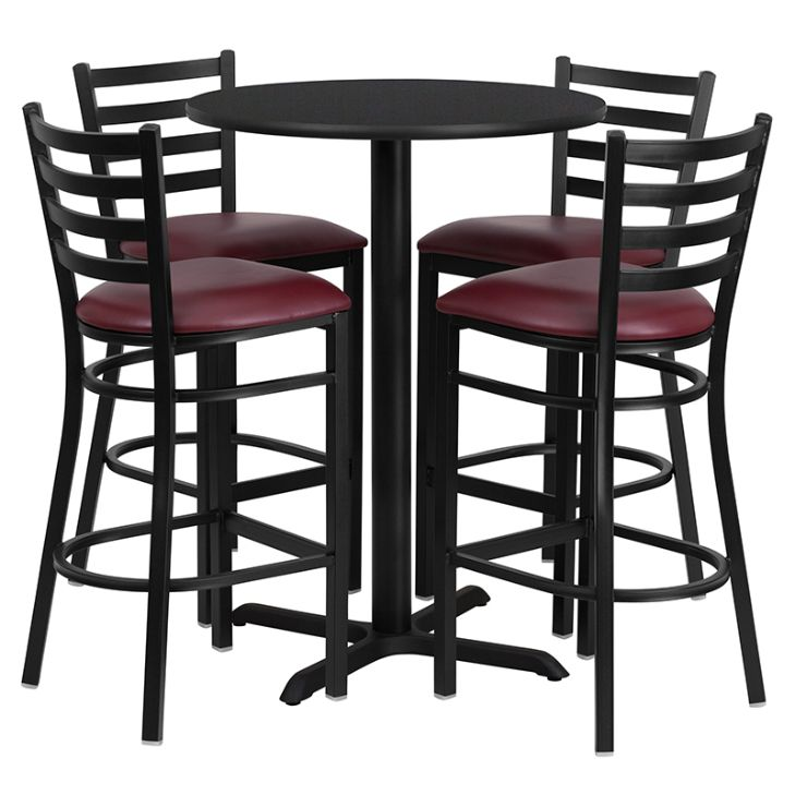 Round Black Laminate Table Set with X-Base and 4 Ladder Back Metal Barstools - Burgundy Vinyl Seat