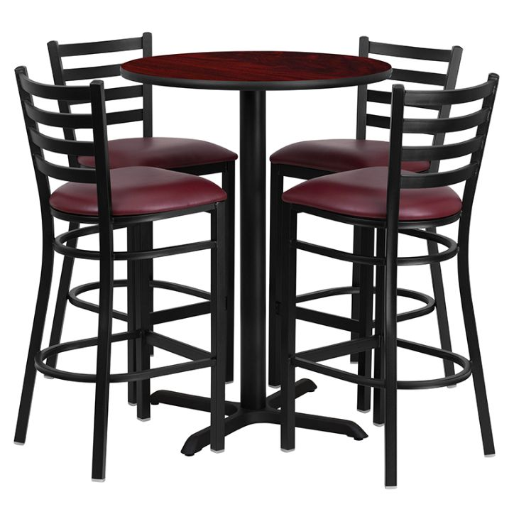 Round Mahogany Laminate Table Set with X-Base and 4 Ladder Back Metal Barstools - Burgundy Vinyl Seat