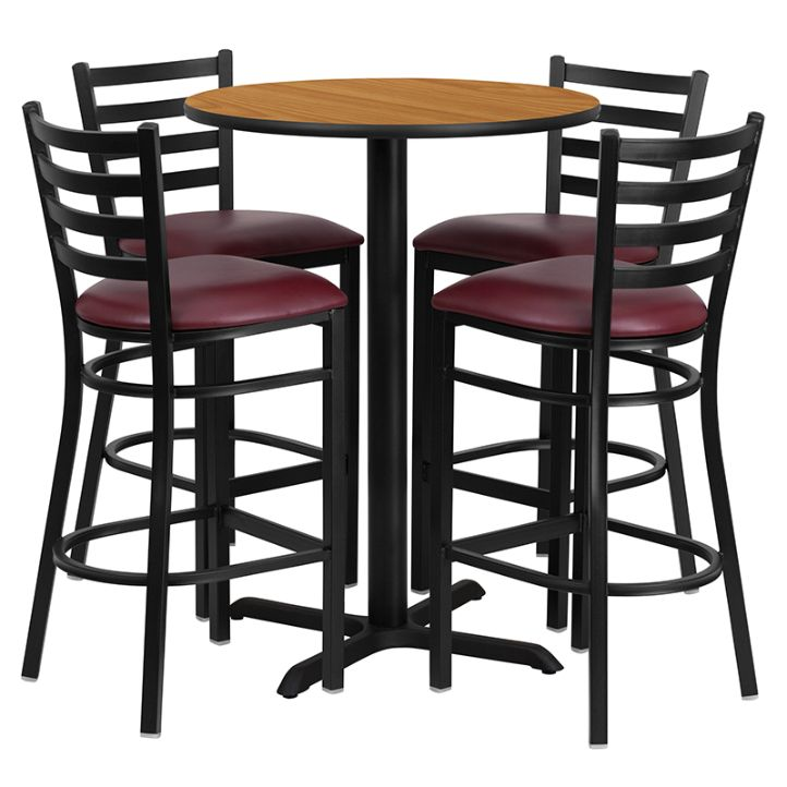 Round Natural Laminate Table Set with X-Base and 4 Ladder Back Metal Barstools - Burgundy Vinyl Seat