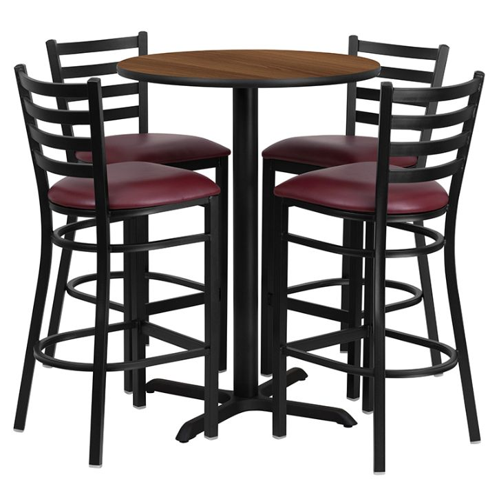 Round Walnut Laminate Table Set with X-Base and 4 Ladder Back Metal Barstools - Burgundy Vinyl Seat