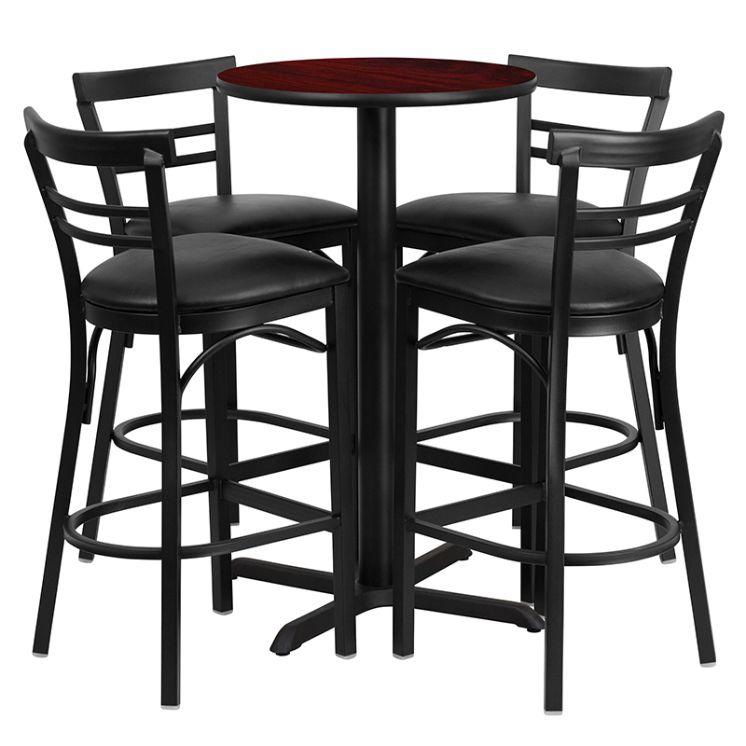 Round Mahogany Laminate Table Set with X-Base and 4 Two-Slat Ladder Back Metal Barstools - Black Vinyl Seat