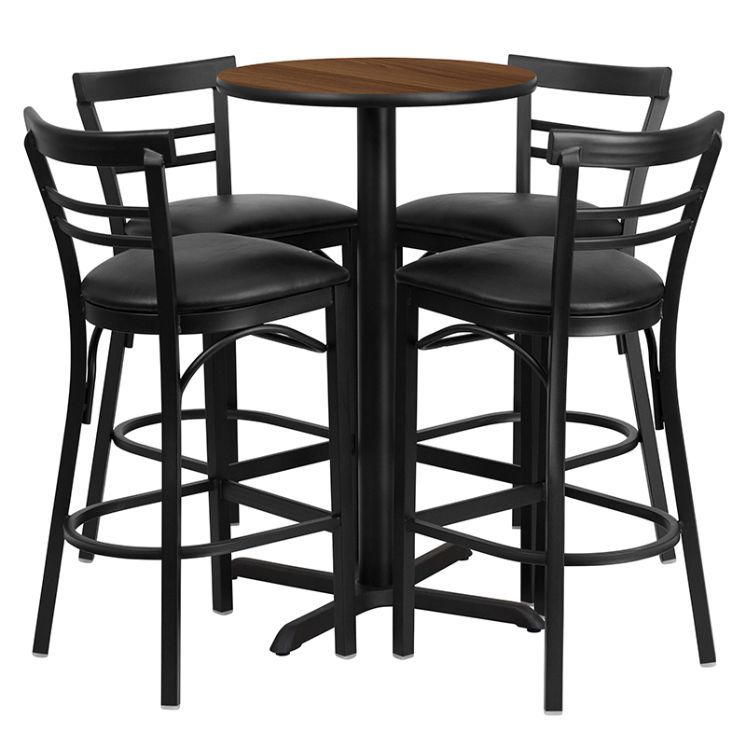 Round Walnut Laminate Table Set with X-Base and 4 Two-Slat Ladder Back Metal Barstools - Black Vinyl Seat