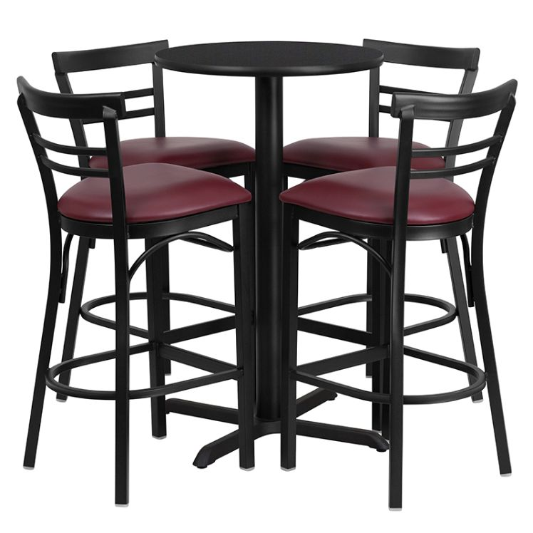Round Black Laminate Table Set with X-Base and 4 Two-Slat Ladder Back Metal Barstools - Burgundy Vinyl Seat