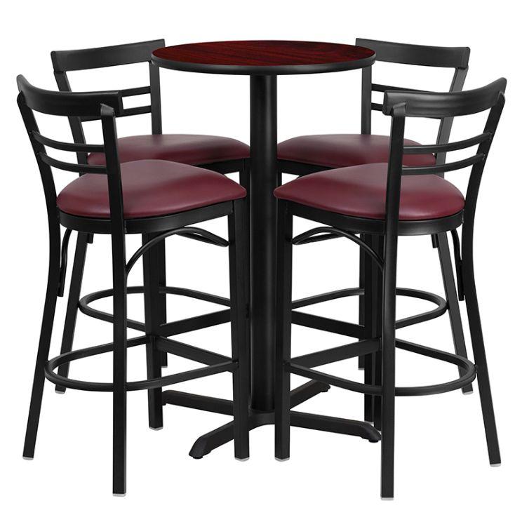 Round Mahogany Laminate Table Set with X-Base and 4 Two-Slat Ladder Back Metal Barstools - Burgundy Vinyl Seat