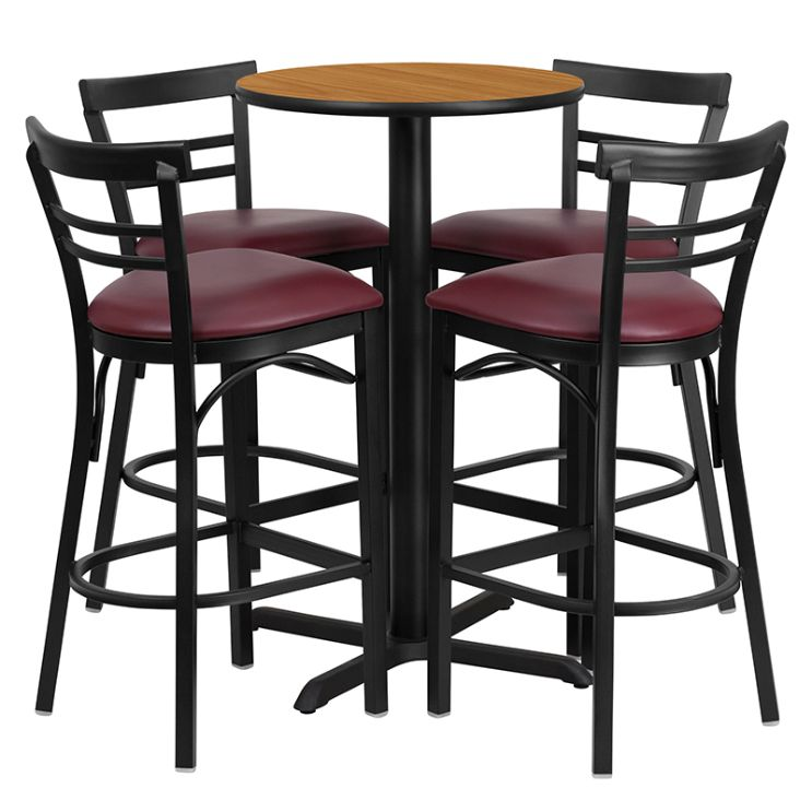 Round Natural Laminate Table Set with X-Base and 4 Two-Slat Ladder Back Metal Barstools - Burgundy Vinyl Seat