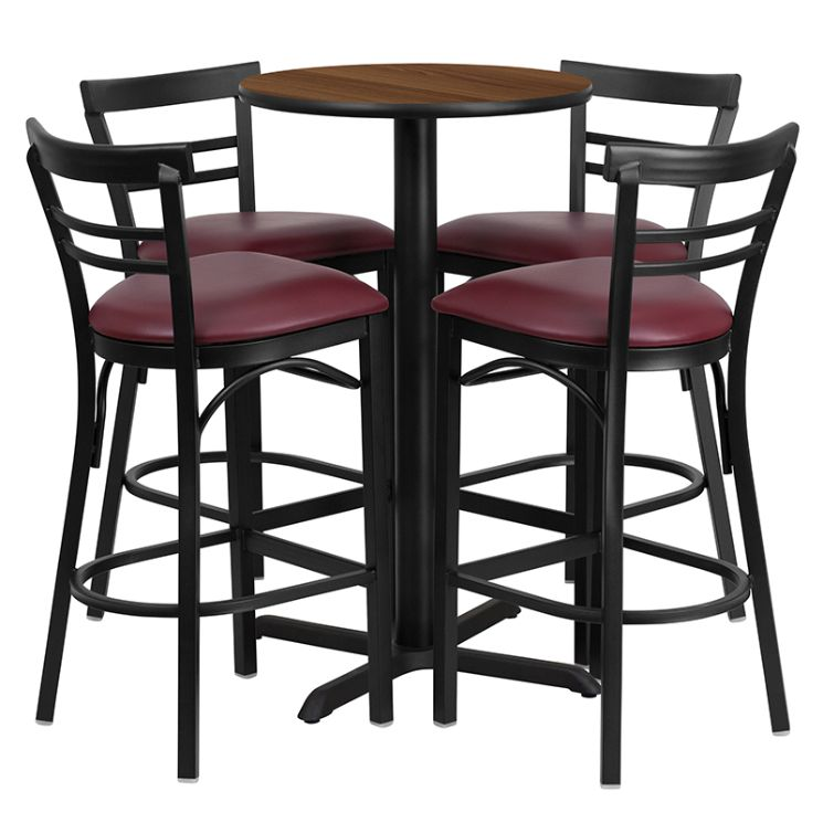 Round Walnut Laminate Table Set with X-Base and 4 Two-Slat Ladder Back Metal Barstools - Burgundy Vinyl Seat