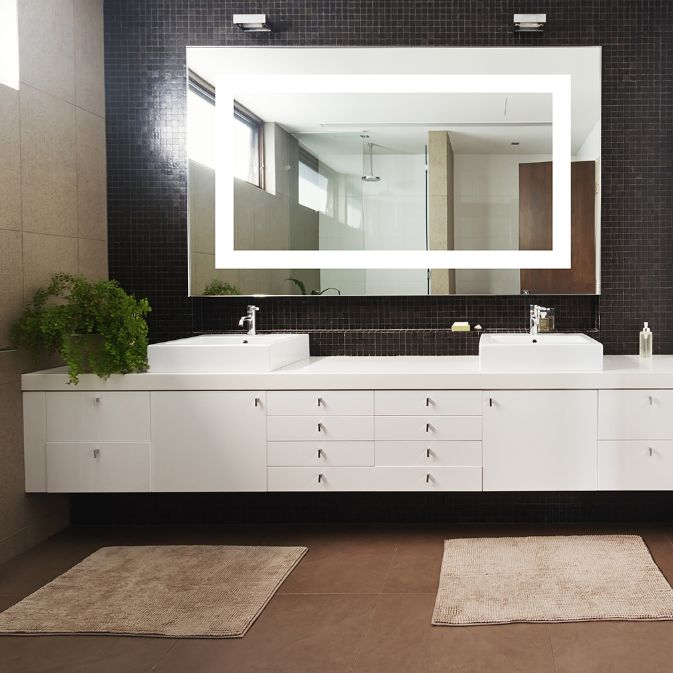 Led Lighted Mirror Daylight Warm White 36 x 48