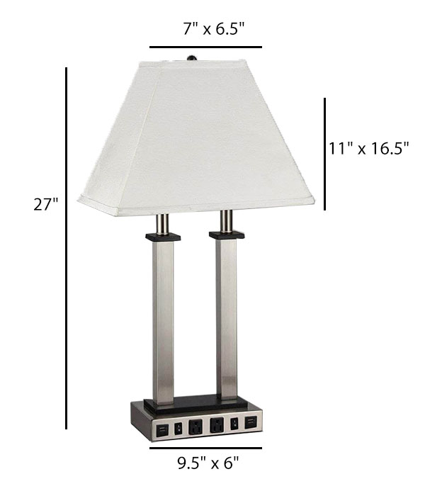 Desk Lamp with 2 Outlets/USBs