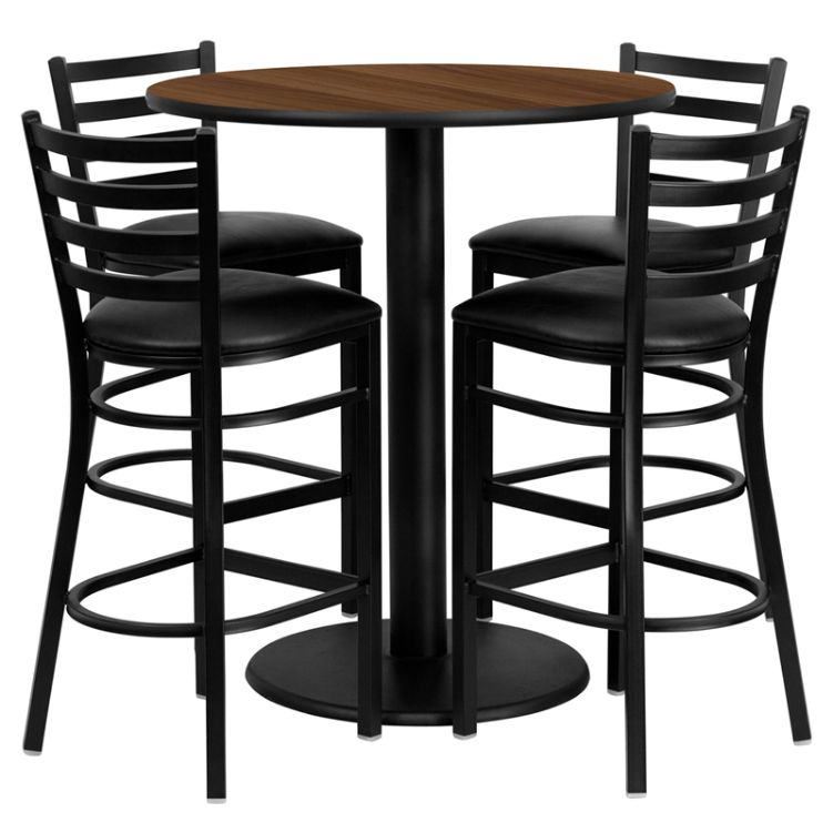 Round Walnut Laminate Table Set with 4 Ladder Back Metal Barstools - Black Vinyl Seat