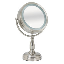 Lighted Tabletop Mirror, Brushed Satin