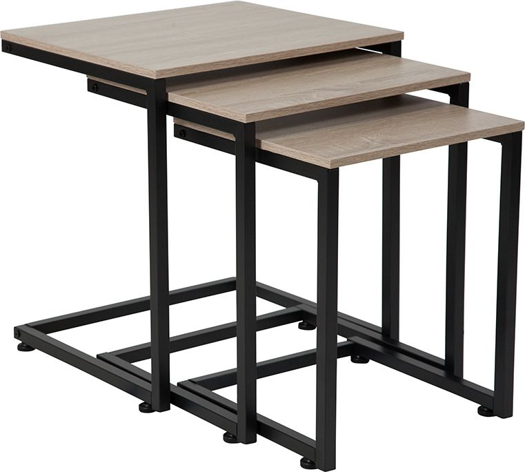 Oak Wood Grain Finish Nesting Tables with Black Metal Cantilever Base
