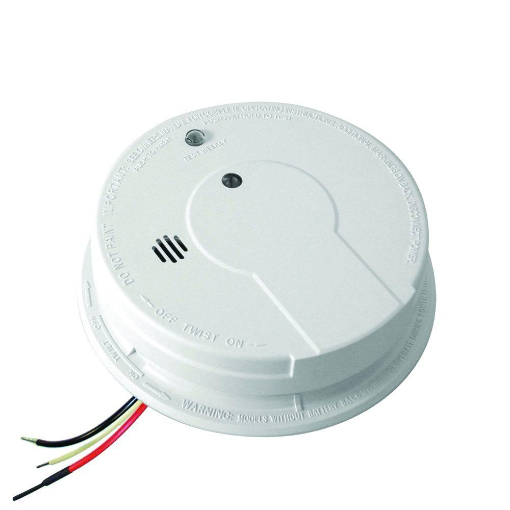 AC Hardwired Interconnect Photoelectric Smoke Alarm with Hush P12040