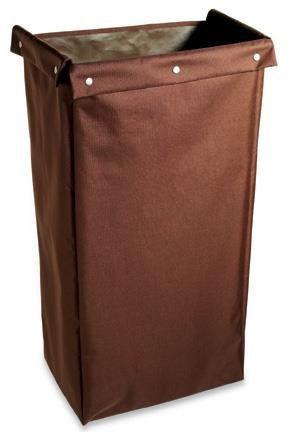 Housekeeping Cart Replacement Bag, Fold-Over & Snaps, Medium, Brown,