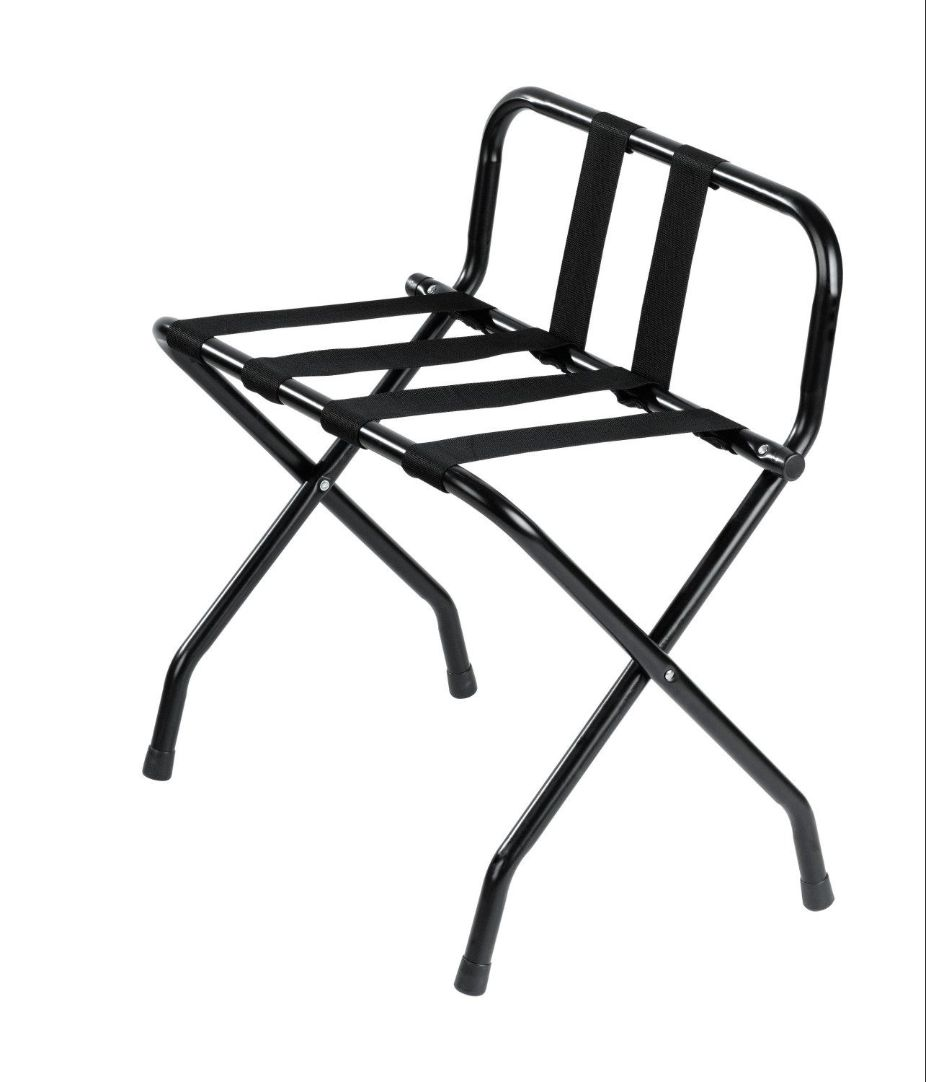 Metal Luggage Rack, Black Powder Coated, With Backrest