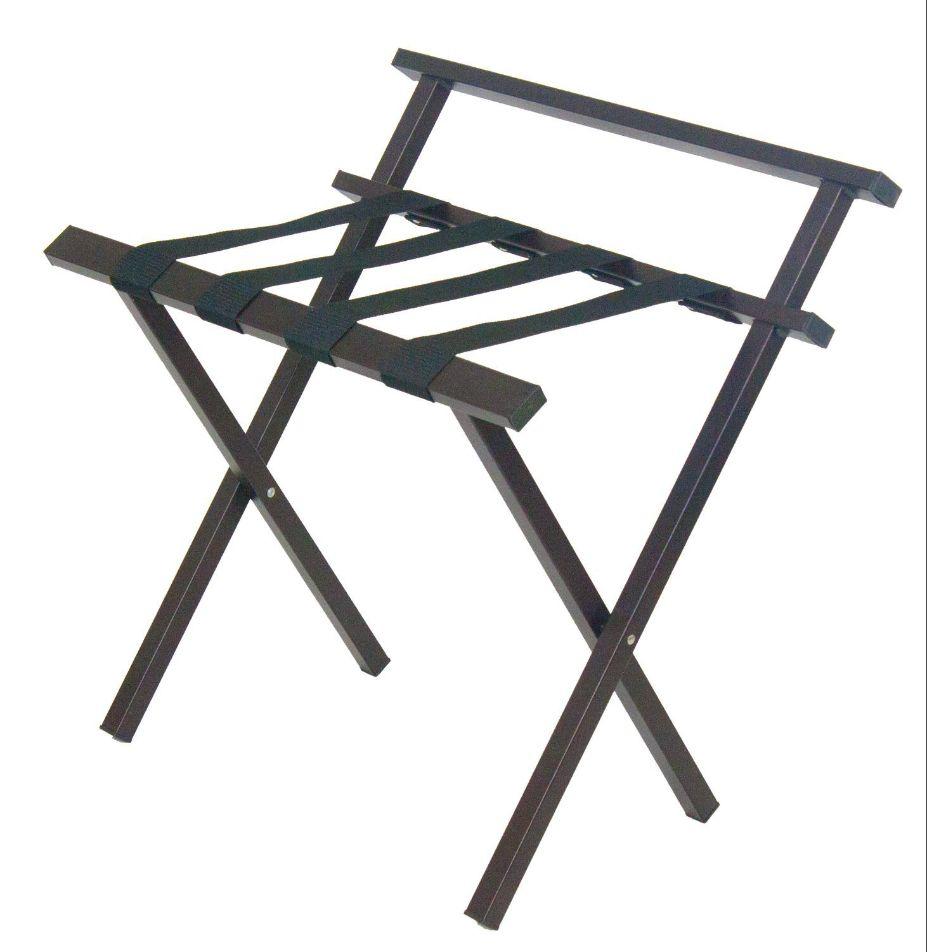 Metropolitan Metal Luggage Rack, Brown Finish, With Backrest