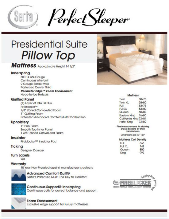 Presidential Suite Pillow Top