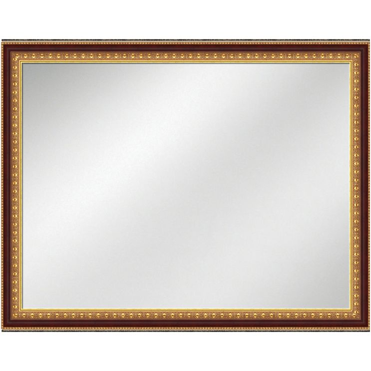Vanity Mirror Gold Frame w/Mahogany 36 x 48