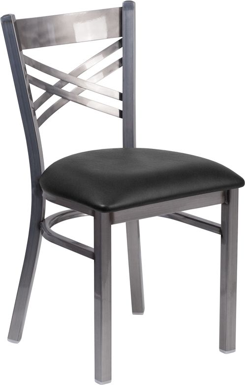 Clear Coated ''X'' Back Metal Restaurant Chair - Black Vinyl Seat