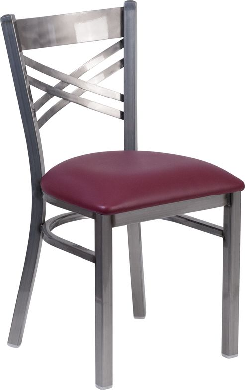 Clear Coated ''X'' Back Metal Restaurant Chair - Burgundy Vinyl Seat