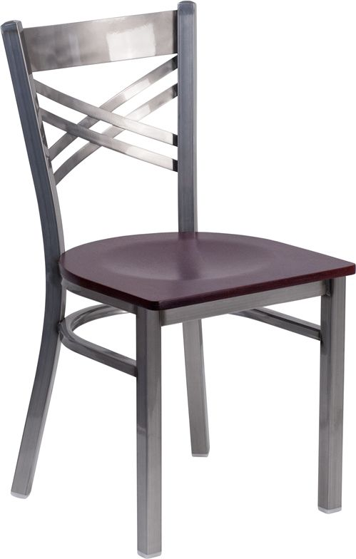 Clear Coated ''X'' Back Metal Restaurant Chair - Mahogany Wood Seat
