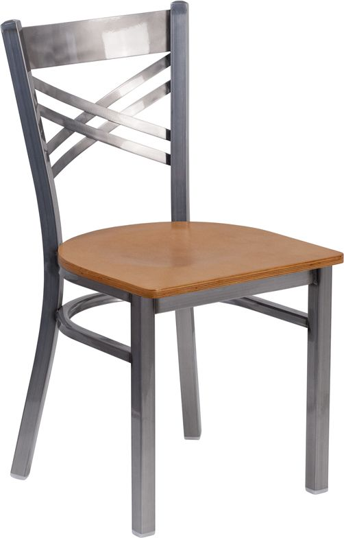 Coated ''X'' Back Metal Restaurant Chair - Natural Wood Seat