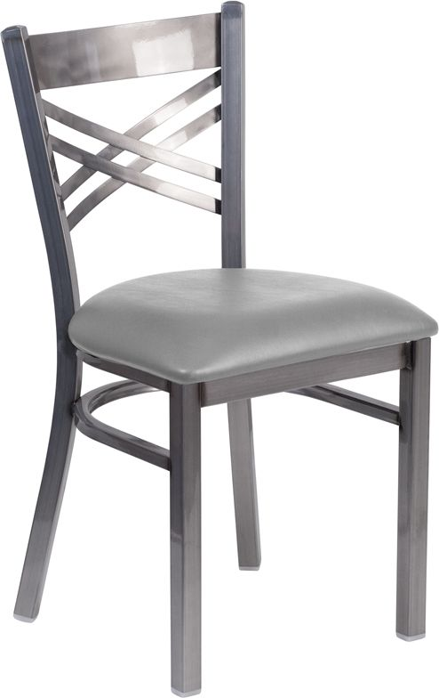 Clear Coated ''X'' Back Metal Restaurant Chair - Custom Upholstered Seat