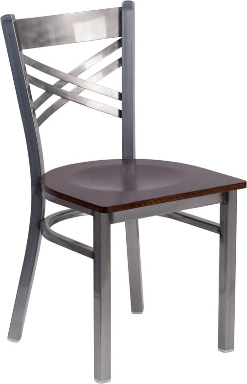 Clear Coated ''X'' Back Metal Restaurant Chair - Walnut Wood Seat
