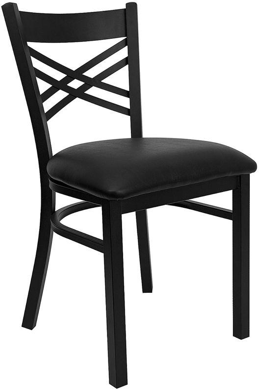 Black ''X'' Back Metal Restaurant Chair - Black Vinyl Seat