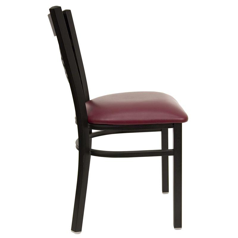 Black ''X'' Back Metal Restaurant Chair - Burgundy Vinyl Seat
