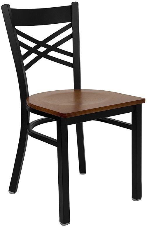 Black ''X'' Back Metal Restaurant Chair - Cherry Wood Seat