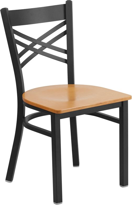 Black ''X'' Back Metal Restaurant Chair - Natural Wood Seat