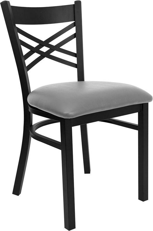 Black ''X'' Back Metal Restaurant Chair - Custom Upholstered Seat