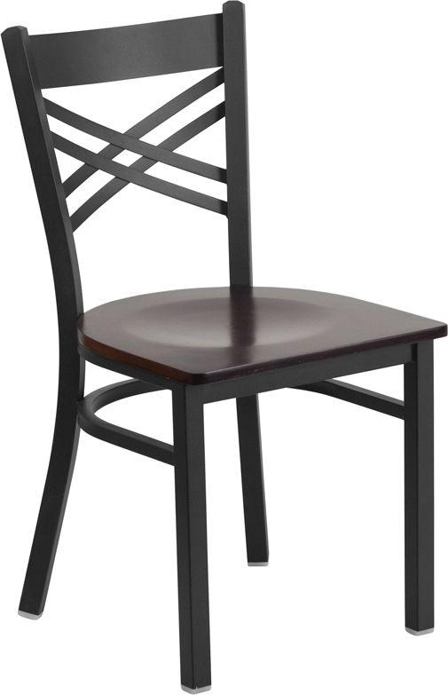Black ''X'' Back Metal Restaurant Chair - Walnut Wood Seat