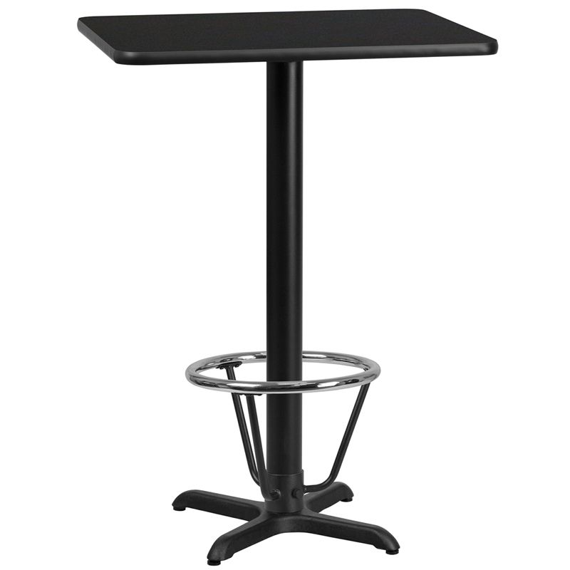 24'' x 30'' Rectangular Black Laminate Table Top with 22'' x 22'' Bar Height Table Base and Foot Ring