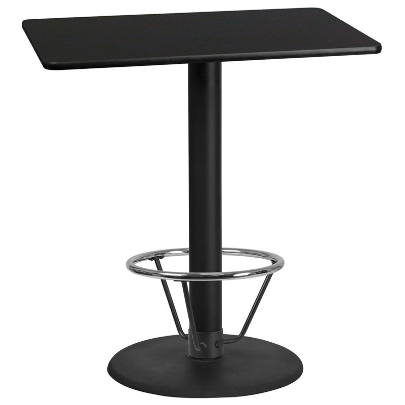 30'' x 42'' Rectangular Black Laminate Table Top with 24'' Round Bar Height Table Base and Foot Ring