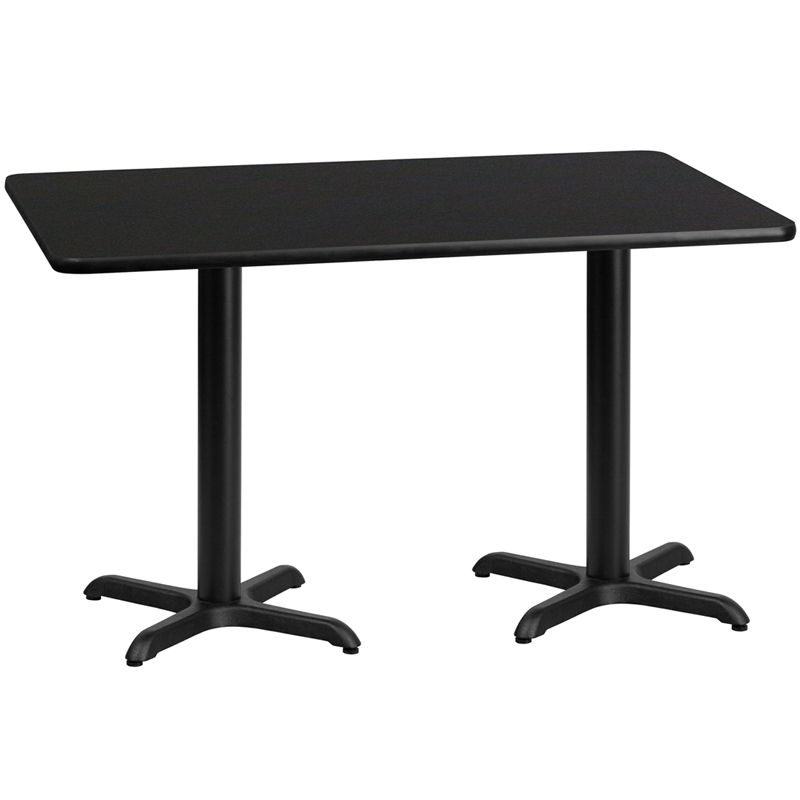 Rectangular Black Laminate Table Top with 22'' x 22'' Table Height Bases