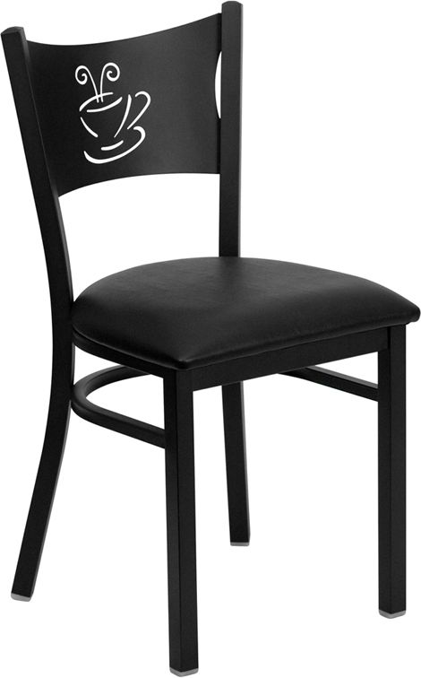 Coffee Back Metal Restaurant Chair - Black Vinyl Seat
