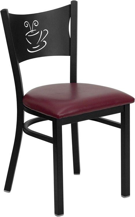 Coffee Back Metal Restaurant Chair - Burgundy Vinyl Seat